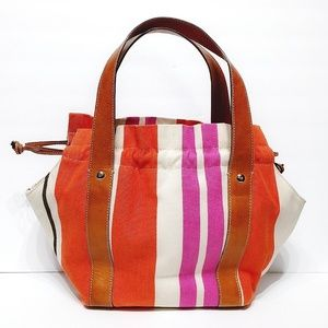 Kate Spade Orange and Pink Canvas/Leather Tote